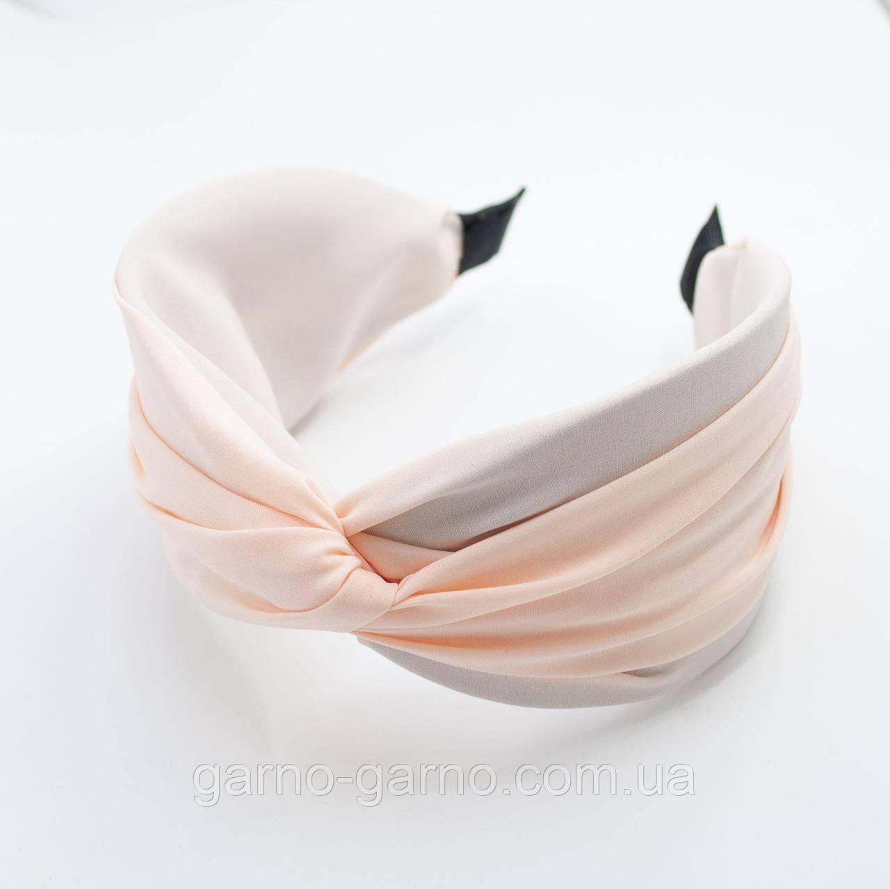 Обідок модний з вузликом обруч Чалма текстиль колір персиковий колір однотонний широкий
