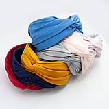 Обідок модний з вузликом обруч Чалма текстиль колір персиковий колір однотонний широкий, фото 2