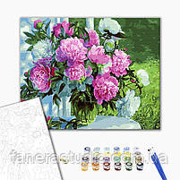 Букет піонів в саду 40х50 см картина за номерами, фото 2