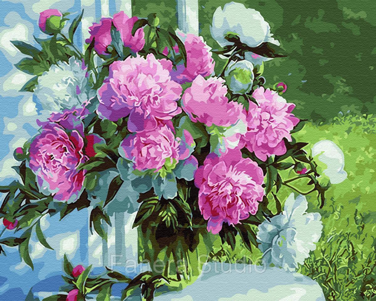 Букет піонів в саду 40х50 см картина за номерами