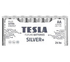 """Первинні елементи та первинні батареї, циліндричної форми, лужні """"TESLA BATTERIES"""" AA SILVER+24M"""