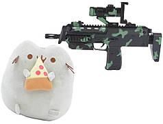 Комплект Мягкая игрушка кот с кусочком пиццы Pusheen cat и Автомат дополненной реальности (n-715)