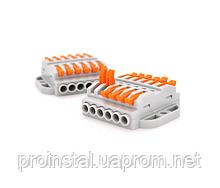 Клеммная колодка с нажимными зажимами 6-проводная WAGO K223-6P для распределительных коробок, 6-pin, серая