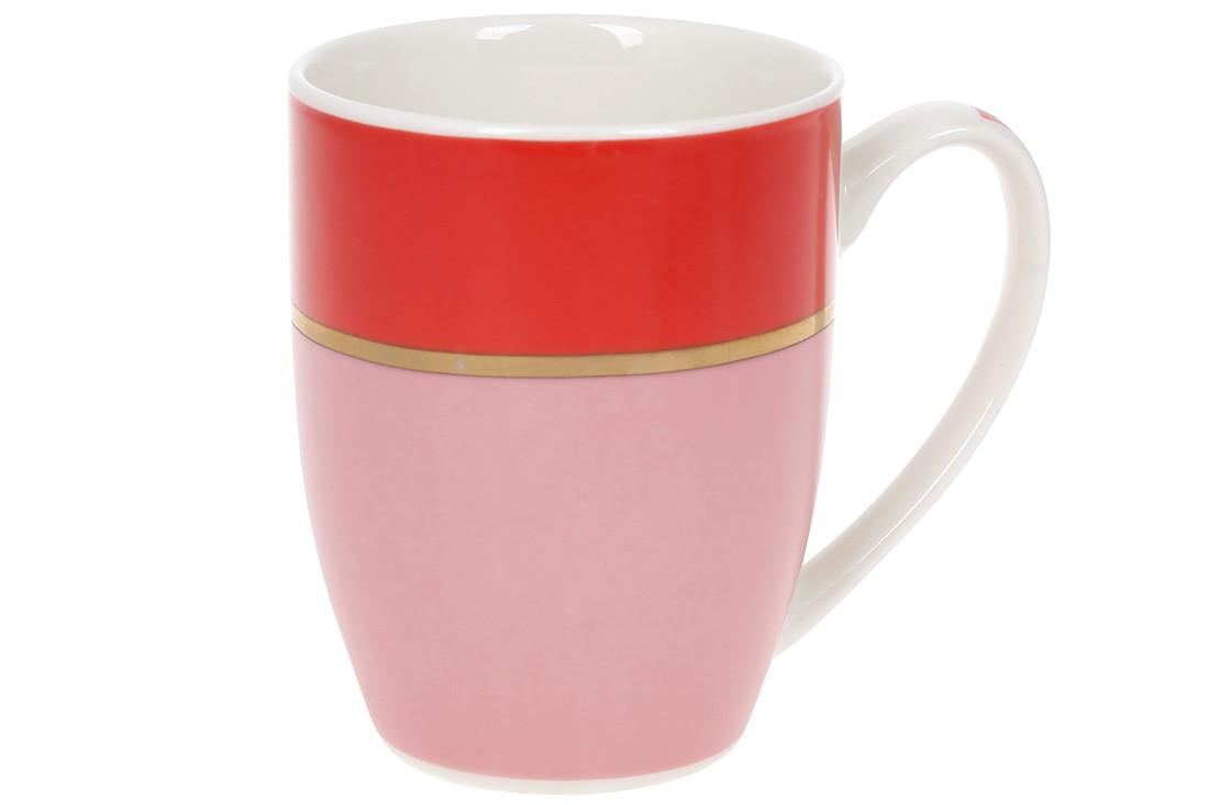 Кружка фарфоровая Золотая Линия 340мл, цвет - розовый с красным, в упаковке 12шт. (588-185)