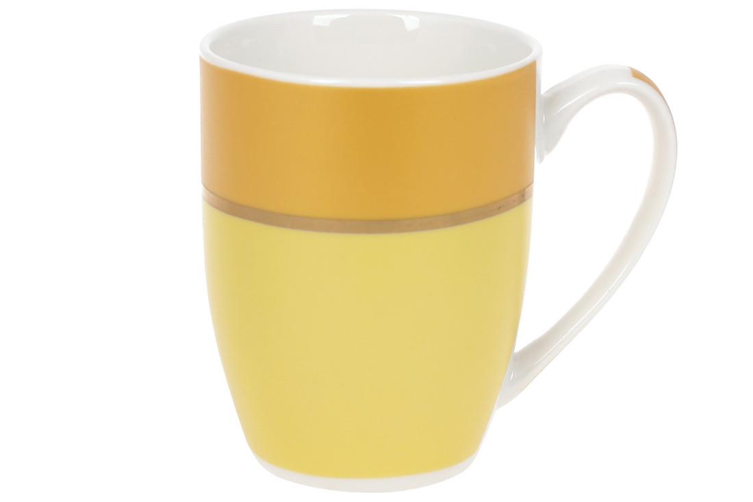 Кружка фарфоровая Золотая Линия 340мл, цвет - жёлтый, в упаковке 12шт. (588-183)