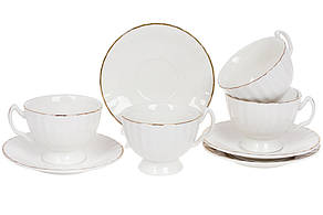 Порцеляновий чайний набір на чотири персони Вів'єн: чашка 200 мл (4 шт) і блюдце з золотим кантом (4шт) 993-411
