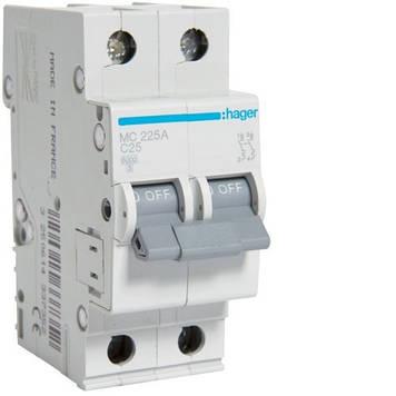 Автоматический выключатель Hager MC225A 2P 6kA C-25A 2M