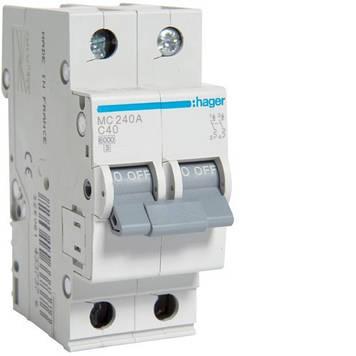 Автоматический выключатель Hager MC240A 2P 6kA C-40A 2M