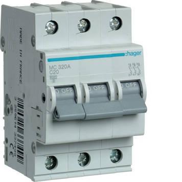 Автоматический выключатель Hager MC320A 3P 6kA C-20A 3M