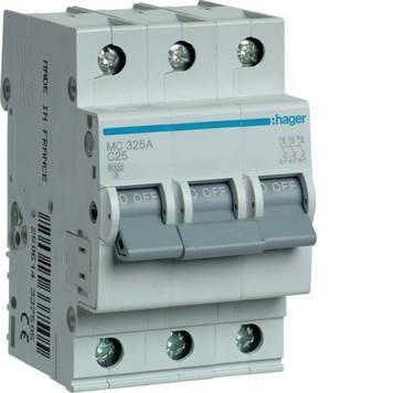Автоматический выключатель Hager MC325A 3P 6kA C-25A 3M