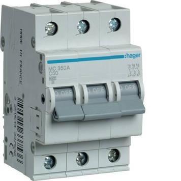 Автоматический выключатель Hager MC350A 3P 6kA C-50A 3M