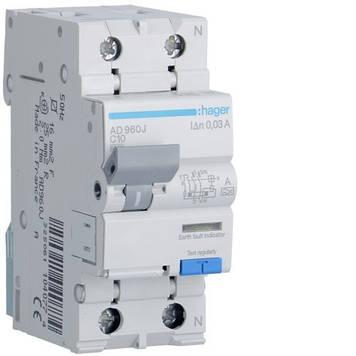 Дифференциальный автомат Hager AD960J 6kA C-10A 30mA A