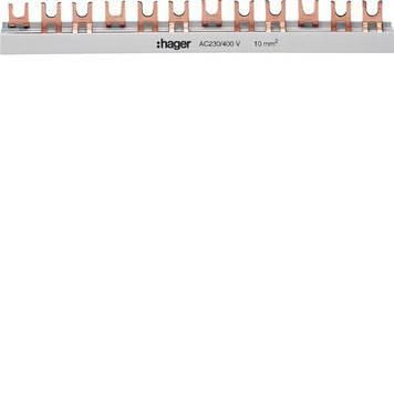 Шина соединительная вилочная 3-полюсная 63 A на 57 модулей с изоляцией 10 мм2 Hager KDN363B для автоматов