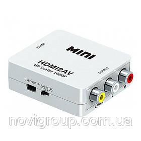 Конвертер Mini HDMI to AV, ВИХІД 3RCA (мама) на ВХІД HDMI (мама), 720P / 1080P, White, BOX