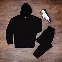 Спортивный костюм мужской теплый флисовый с капюшоном толстовка и спортивны штаны Черный