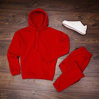 Спортивный костюм мужской теплый флисовый с капюшоном толстовка и спортивны штаны Красный