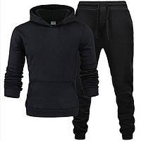 Мужской спортивный костюм трикотажный демисезонный весна-осень худи и штаны черный