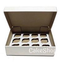 Коробка на 12 кексов из гофрокартона Белая, 33х25х8 см
