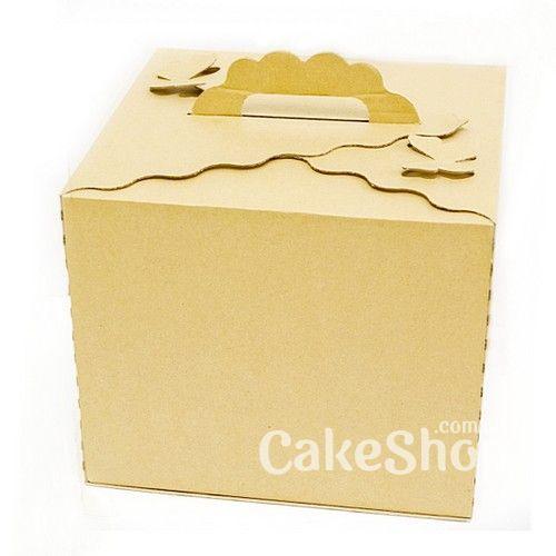Коробка для торта с бабочками Бурая, 30х30х25см