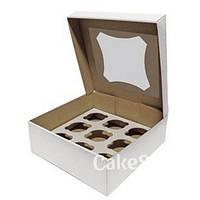 Коробка на 9 кексов из гофрокартона с прозрачным окном Белая, 26х26х9 см