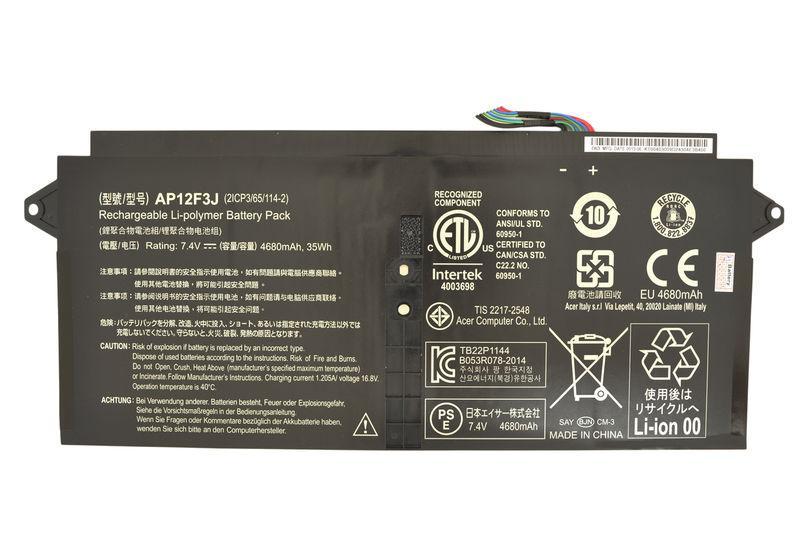 Аккумуляторная батарея для ноутбука Acer AP12F3J 7.4V Black 4680mAh Orig