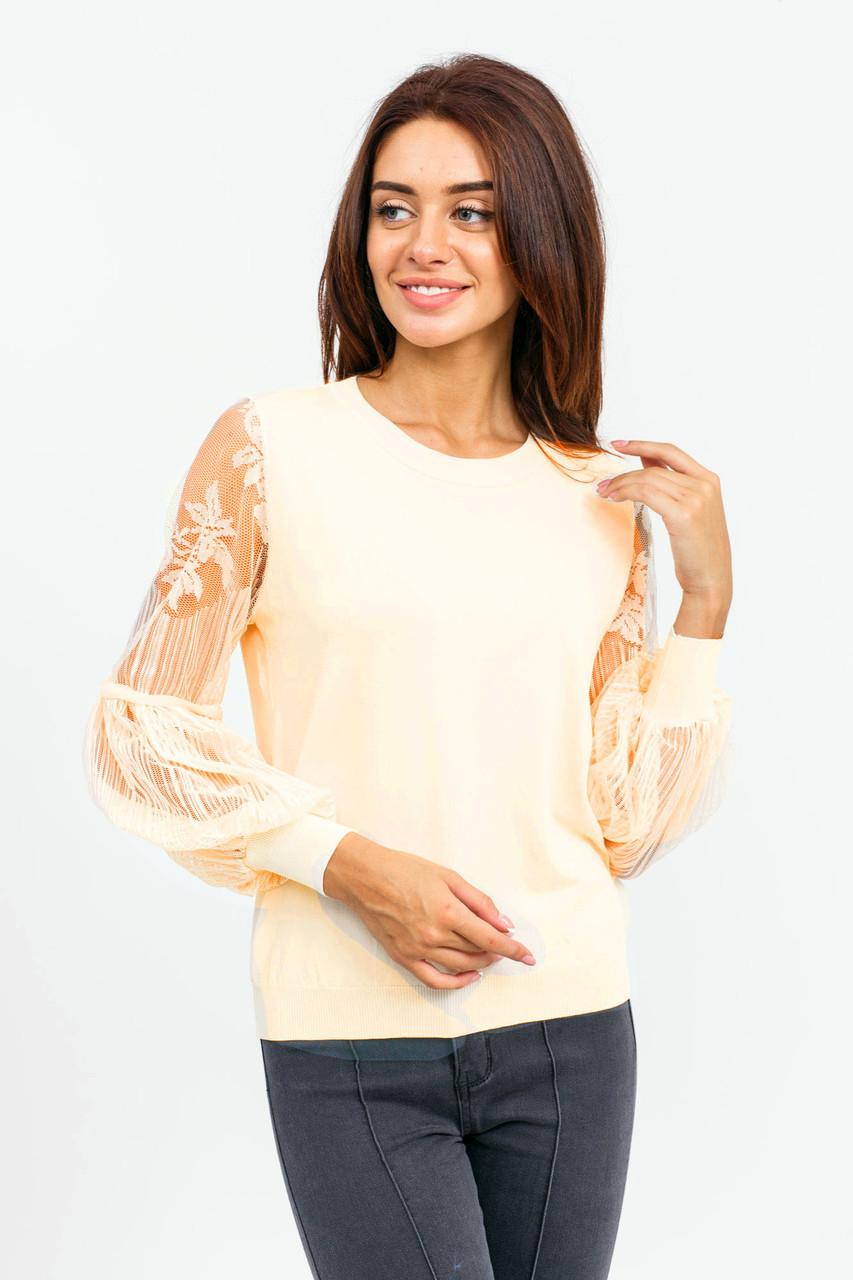 Джемпер с прозрачным рукавом LUREX - молочный цвет, S (есть размеры)