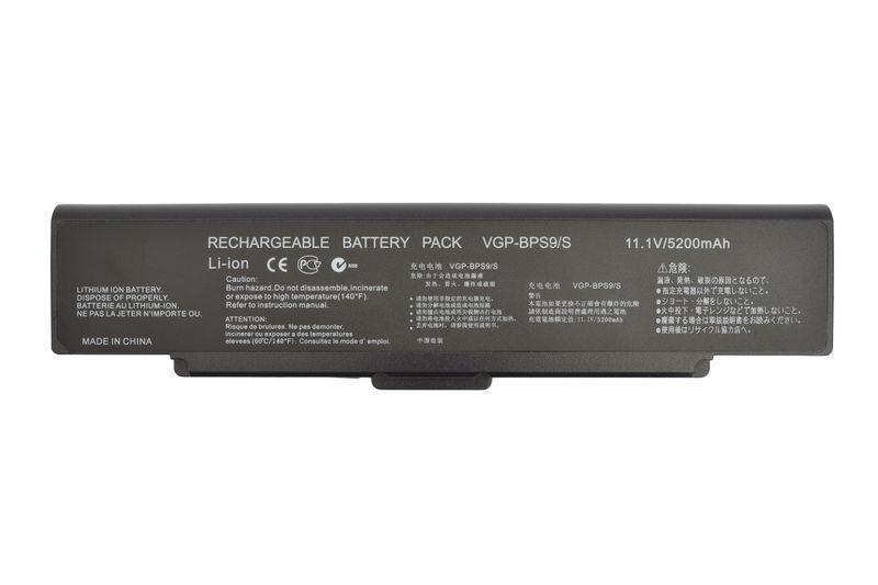 Аккумуляторная батарея для ноутбука Sony VGP-BPS9B VAIO VGN-NR260E 11.1V Black 5200mAh OEM