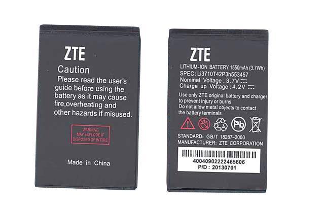 Оригинальная аккумуляторная батарея для смартфона ZTE Li3710T42P3h553457 D930 Cricket 3.7V Black 1550mAh 3.7Wh