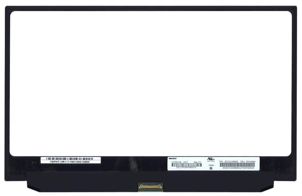 """Матрица для ноутбука 12,5"""", Slim (тонкая), 30 pin eDP (снизу по центру), 1920x1080, Светодиодная (LED), без"""