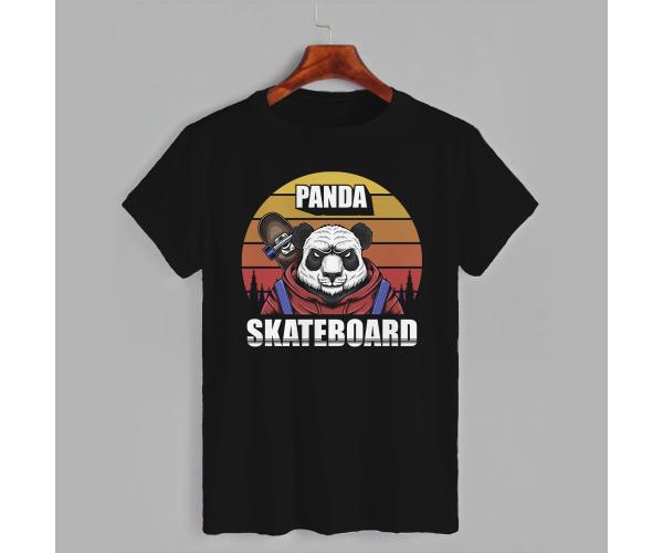 Футболка с принтом Panda skateboard (0728)