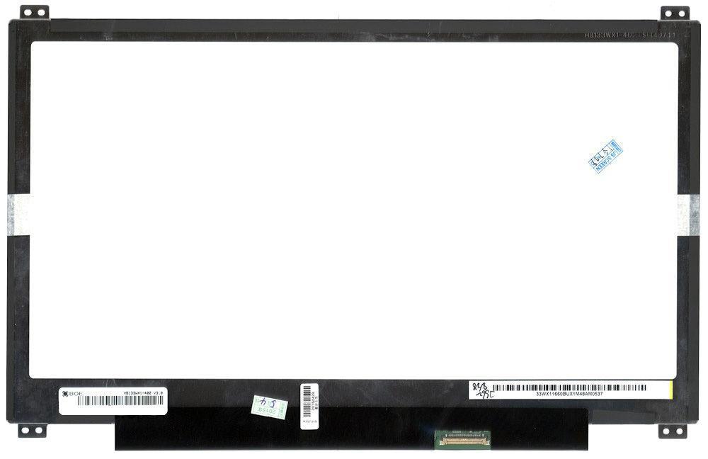 "Матрица для ноутбука 13,3"", Slim (тонкая), 30 pin eDP (снизу справа), 1366x768, Светодиодная (LED), крепления"