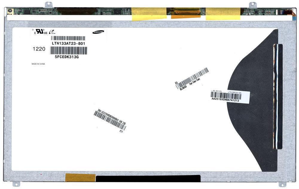 "Матрица для ноутбука 13,3"", Slim (тонкая), 40 pin (снизу слева), 1366x768, Светодиодная (LED), ушки верх/низ,"