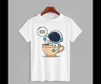 Футболка с принтом Космонавт в чашке (0813)
