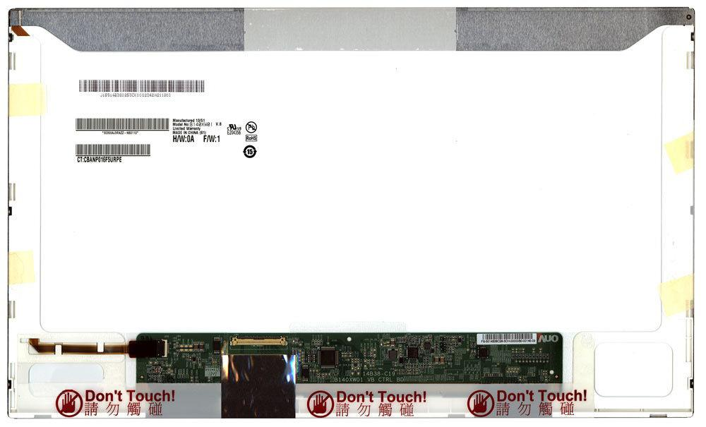 """Матриця для ноутбука 14,0"""", 1366x768, глянсовий, світлодіодна (LED) підсвітка, коннектор зліва, AUO, 40 pin,"""