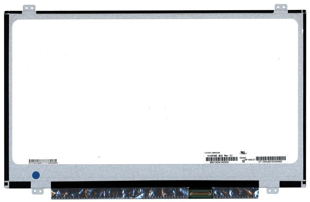 "Матрица для ноутбука 14,0"", Slim (тонкая), 30 pin eDP (снизу справа), 1600x900, Светодиодная (LED), крепления"