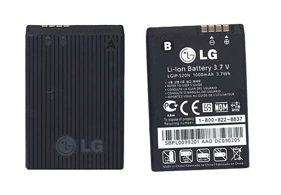 Оригинальная аккумуляторная батарея для смартфона LG LGIP-520N GD900 Crystal 3.7V Black 1000mAhr 3.7Wh