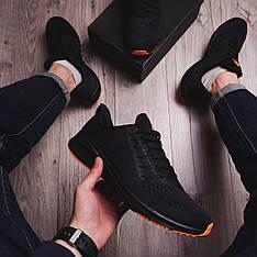 Мужские кроссовки Стили Заир Pobedov (черные с оранжевой подошвой)