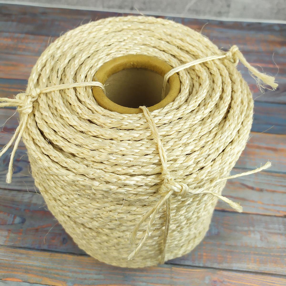 Сизалевая нить для когтеточки светлая 12 мм 50 м