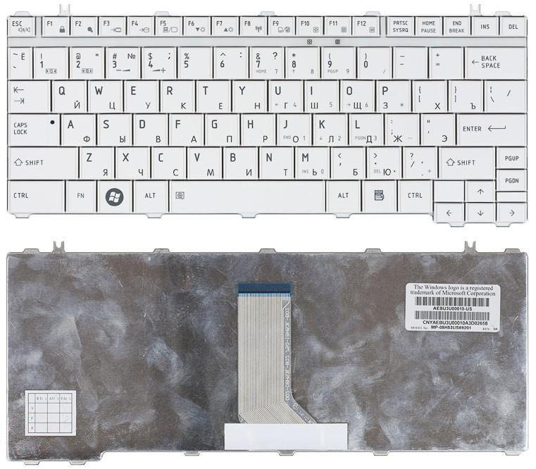 Клавиатура Toshiba Satellite Satellite A600, T130, T135, U400, U405, U500, U505, Portege M800, M900, White, RU