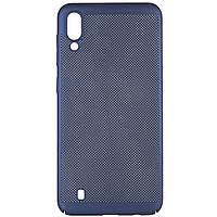 Ультратонкий дышащий чехол Grid case для Samsung Galaxy M10 Темно-синий