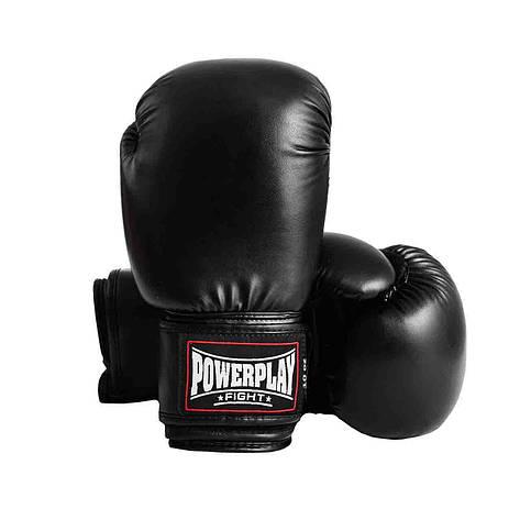 Боксерські рукавиці PowerPlay 3004 Чорні 18 унцій, фото 2