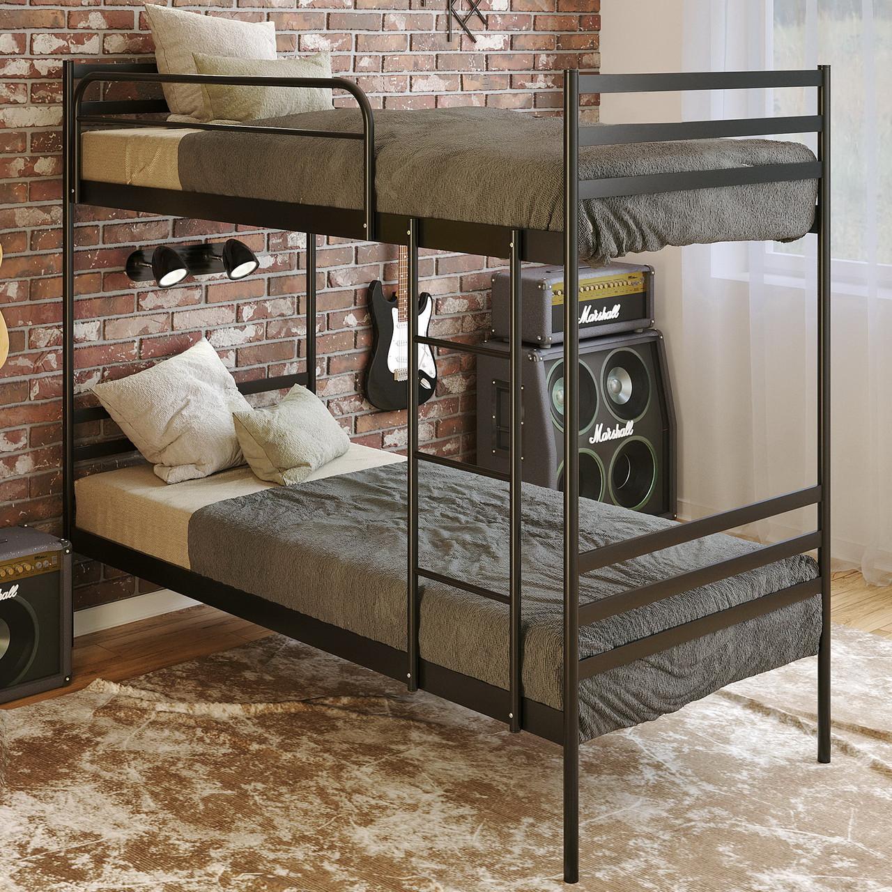 "Кровать двухъярусная ""Оптима Дуо"" 90х200 см. 1 перило, Металл"