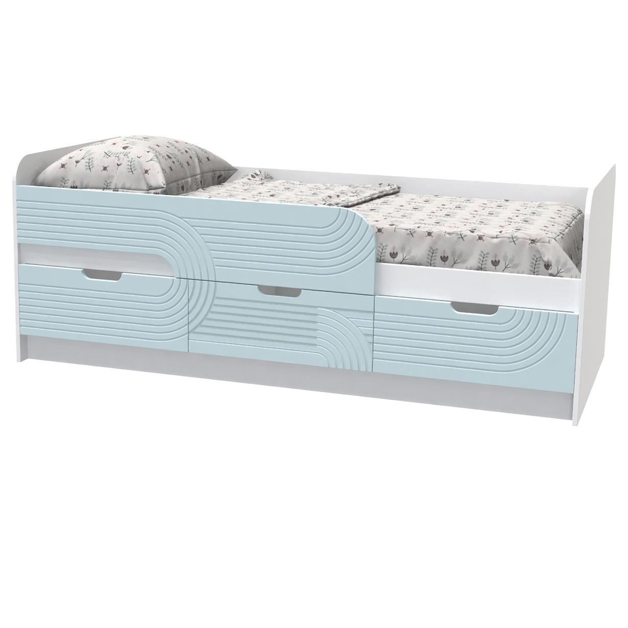 """Кровать детская """"Binky"""" 80х190 см. Аляска/Голубая лагуна, КЕС10А"""
