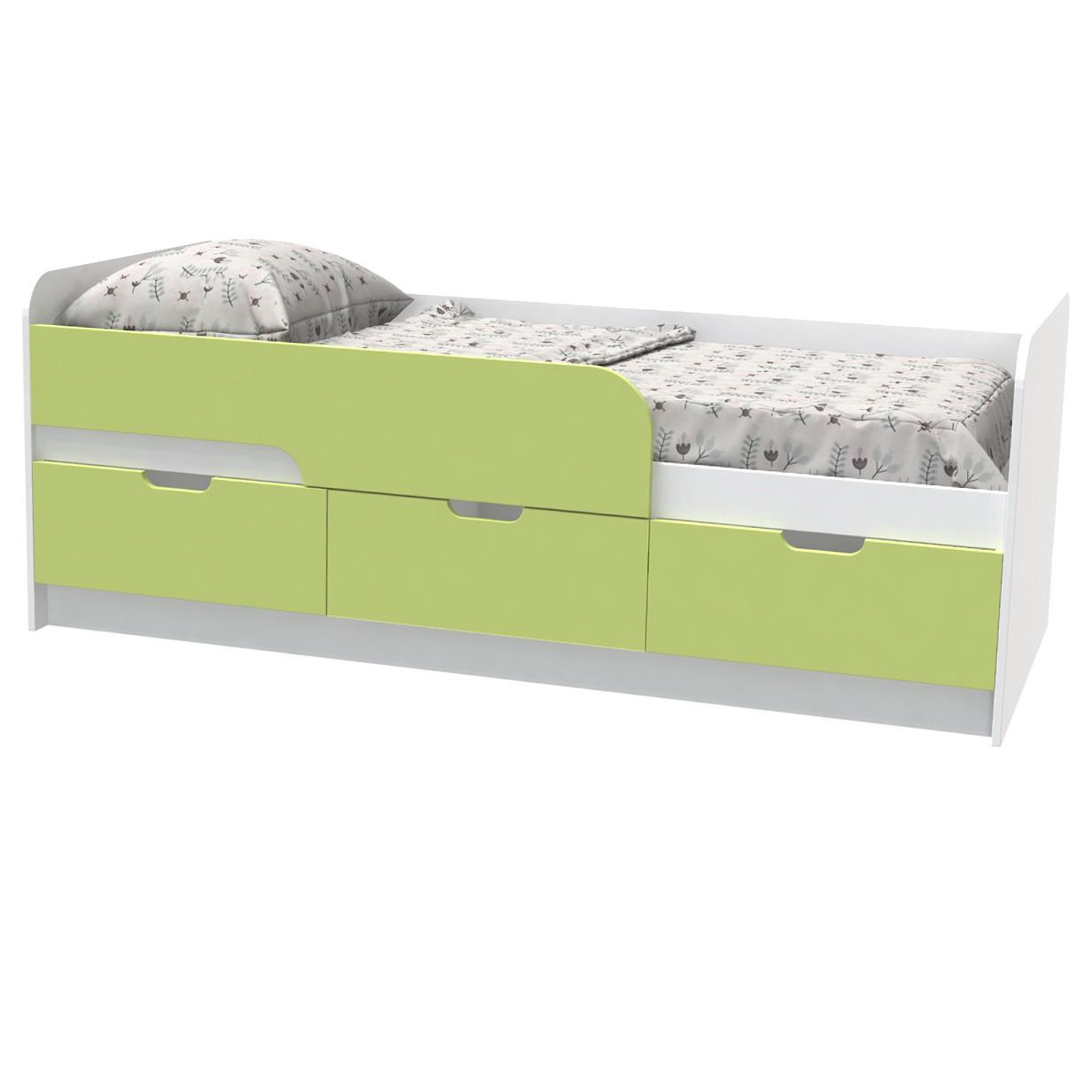 """Кровать детская """"Binky"""" 80х190 см. Аляска/Лайм, КЕС10А"""