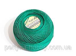 Пряжа Канариас (ирис тонкий) Canarias YarnArt 100%  зелений № 6334