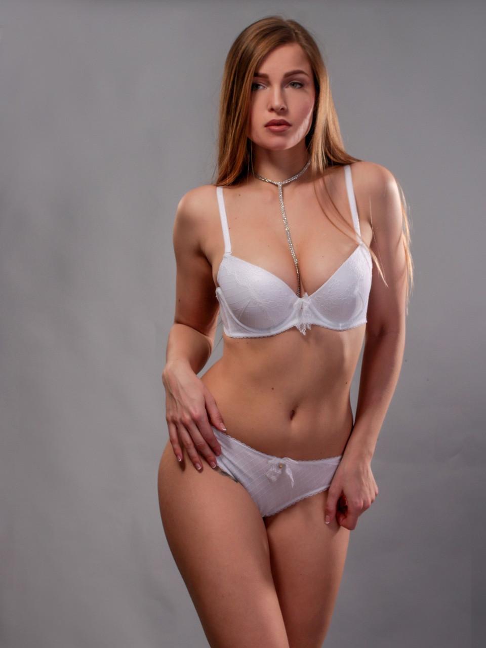 Комплект жіночої нижньої білизни Acousma A6449BC-P6449H оптом, чашка B, колір Білий