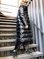 Женский теплый стильный пуховик пальто из прорезиненной плащевки, утеплитель аэропух с тинсулейтом.