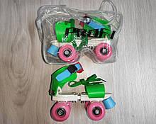 Ролики арт 0053 квадровые,раздв,бакл+шнур,стель16 см(+2,5 см),колеса 4,5 см в сумці,рожеві блакитний