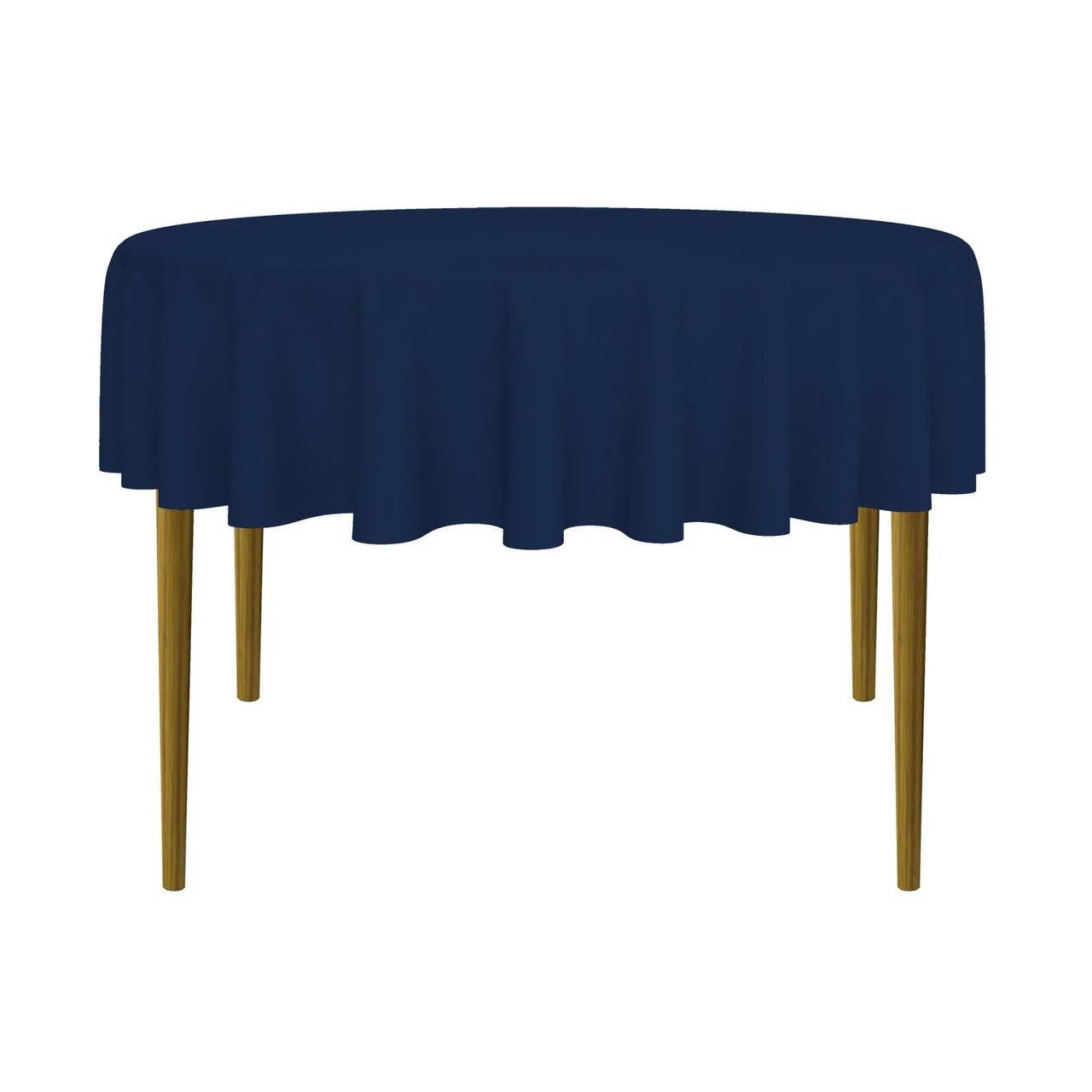 Скатерть круглая габардиновая темно-синяя Atteks 145 см - 1414
