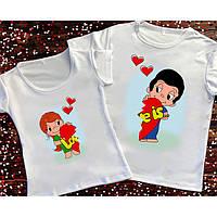 Парні футболки Love is.Парні жіночі,чоловічі футболки до дня ЗАКОХАНИХ